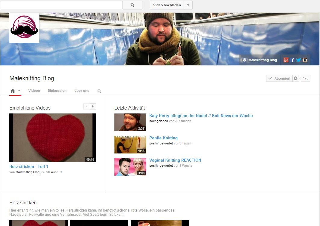 Maleknitting Kanal bei YouTube