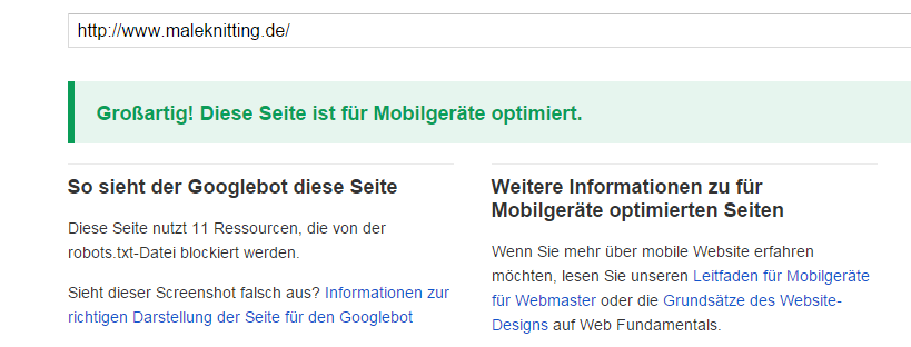 mobilefriendly test von Google