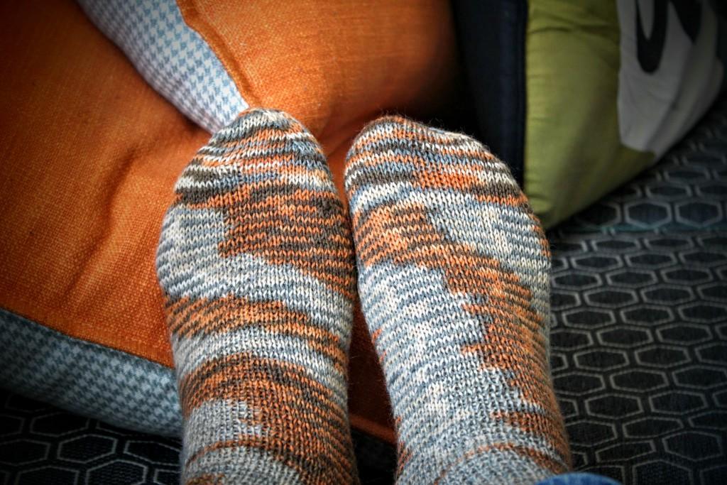 gestrickte Socken aus Norma Sockenwolle